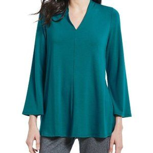 Eileen Fisher Teal Viscose Jersey V-Neck Tunic Top